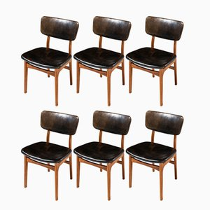 Esszimmerstühle aus Leder & Mahagoni von Gustav Bertelsen, 1950er, 8er Set