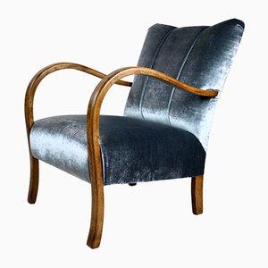 Art Deco Style Silver Velvet Armchair, 1960s