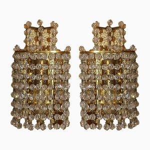 Apliques de latón y cristal de J. & L. Lobmeyr, años 60. Juego de 2