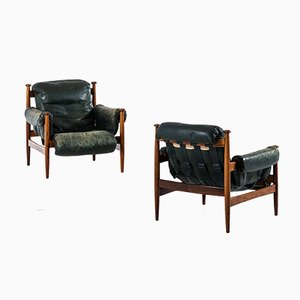 Leather and Rosewood Amiral Armchairs by Eric Merthen, 1964, Set of 2