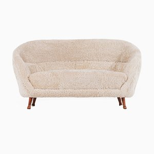 Swedish Sheepskin Sofa by Arne Norell for Westbergs Möbler, 1950s
