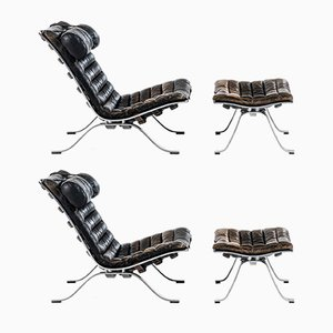 Scandinavian Modern Easy Chairs & Ottomans by Arne Norell, 1960s, Set of 2