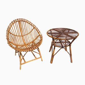 Italian Rattan Egg Chair & Table Set by Ico Luisa Parisi for Vittorio Bonacina, 1950s