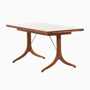Beech, Brass, and Wood Dining Table from David Rosén, 1950s