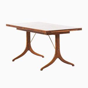 Mesa de comedor de haya, latón y madera de David Rosén, años 50
