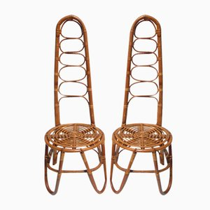 Italian Rattan Garden Chairs from Vittorio Bonacina, 1950s, Set of 2