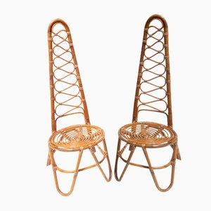 Gartenstühle aus Rattan von Vittorio Bonacina, 1950er, 2er Set