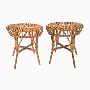Italian Rattan Stools by Franco Albini for Vittorio Bonacina, 1950s, Set of 2