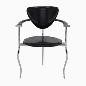 Italian Iron and Leather Desk Chair from Arrben, 1960s