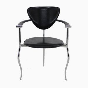 Silla de escritorio italiana de hierro y cuero de Arrben, años 60