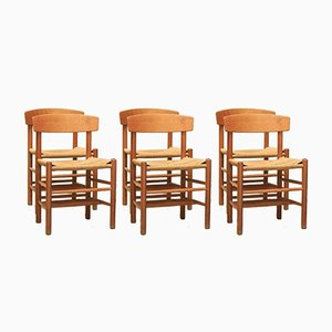 Scandinavian Oak Dining Chairs by Børge Mogensen, 1960s, Set of 6