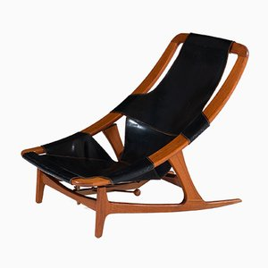 Holmenkollen Brass & Leather Lounge Chair by Arne Tidemand-Ruud for Norcraft, 1960s