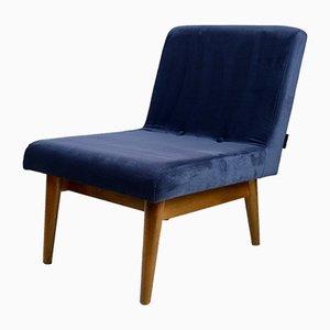 Vintage Blue Velvet Lounge Chair, 1970s