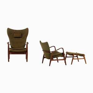 Danish Armchairs & Ottoman by Ib Madsen & Acton Schubell for Madsen & Schubell, 1950s, Set of 3