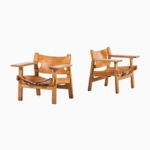 Dänische Modell 2226 Beistellstühle aus Leder & Eiche von Børge Mogensen für Fredericia, 1950er, 2er Set