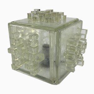 Italienische Tischlampe aus geschliffenem Glas von Poliarte, 1960er