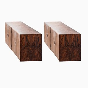 Scandinavian Modern Danish Oak & Rosewood Sideboards, 1960s, Set of 2