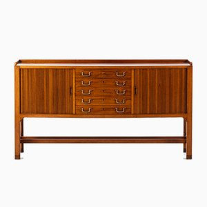Scandinavian Modern Brass & Mahogany Sideboard by David Rosén, 1950s