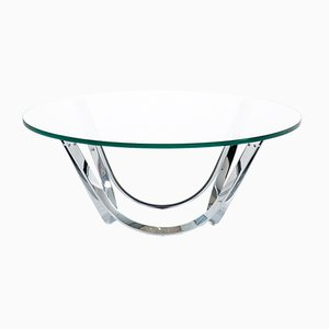 Chrome & Glass Coffee Table by Roger Sprunger for Dunbar, 1970s