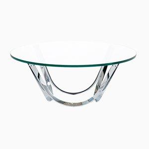 Mesa de centro de metal cromado y vidrio de Roger Sprunger para Dunbar, años 70