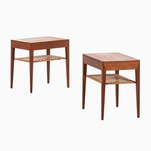 Tables de Chevet en Teck et Jonc par Severin Hansen pour Haslev Møbelsnedkeri, Danemark, 1950s, Set of 2