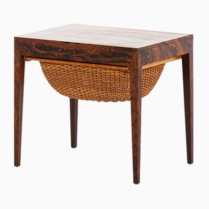 Danish Rattan and Rosewood Side Table by Severin Hansen for Haslev Møbelsnedkeri, 1950s