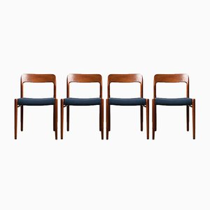 No. 75 Teak and Wool Dining Chairs by Niels Otto Møller for J.L. Møllers, 1960s, Set of 4