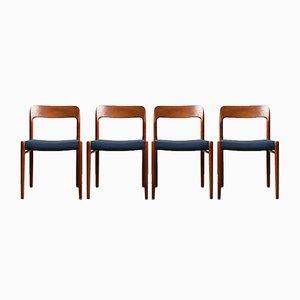 Nr. 75 Esszimmerstühle mit Gestell aus Teak & Wollbezug von Niels Otto Møller für J.L. Møllers, 1960er, 4er Set