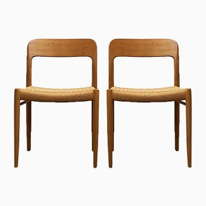 No. 75 Teak and Paper Cord Dining Chairs by Niels Otto Møller for J.L. Møllers, 1960s, Set of 2
