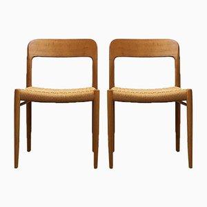 Nr. 75 Esszimmerstühle mit Gestell aus Teak & Sitzgeflecht von Niels Otto Møller für J.L. Møllers, 1960er, 2er Set