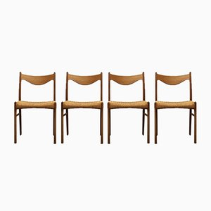 Danish Oak and Paper Cord Dining Chairs, 1960s, Set of 4