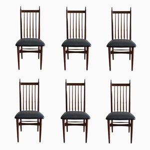 Moderne skandinavische Esszimmerstühle aus Kunstleder & Teak, 1950er, 6er Set