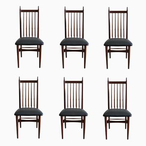 Scandinavian Modern Leatherette & Teak Dining Chairs, 1950s, Set of 6