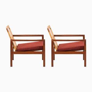 Dänische Modell 19 Armlehnstühle mit Stoffsitz & Gestell aus Teak von Hans Olsen für Juul Kristensen, 1950er, 2er Set