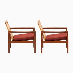 Danish Fabric and Teak Model 19 Armchairs by Hans Olsen for Juul Kristensen, 1950s, Set of 2