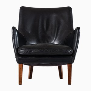 Scandinavian Modern Danish Leather and Rosewood Side Chairs by Arne Vodder for Ivan Schlechter, 1953, Set of 2