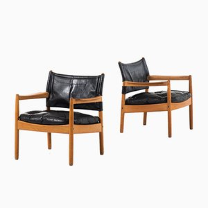 Leather and Oak Armchairs by Sven Engström & Gunnar Myrstrand for Källemo, 1960s, Set of 2