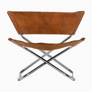 Sedia moderna in pelle e acciaio di Scandinavia di Erik Magnusson per Torben Ørskov, Scandinavia, 1968