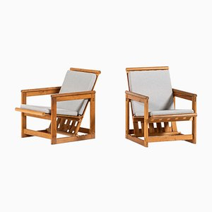 Scandinavian Modern Fabric and Pine Side Chairs by Edvin Helseth for Trybo, 1960s, Set of 2