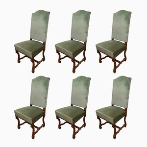 Mid-Century French Wooden Dining Chairs, 1960s, Set of 6