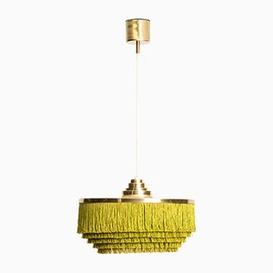Scandinavian Modern Brass and Silk Model T-603 Ceiling Lamp by Hans-Agne Jakobsson, 1960s