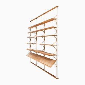 Libreria moderna in legno di betulla ed acciaio di Bruno Mathsson per Karl Mathsson, Scandinavia, anni '60