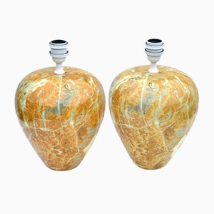 Tin Glazed Faience Table Lamps with Marble Pattern, 1970s, Set of 2