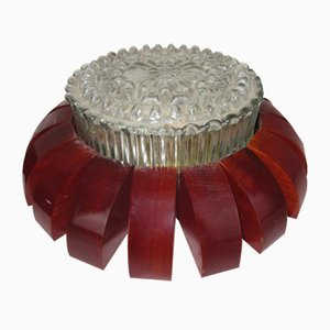 Murano Glass and Steel Flower Ceiling Lamps, 1950s, Set of 2