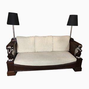 Sofa mit Gestell aus Mahagoni im Empire-Stil