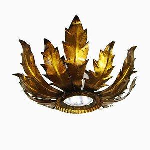 Mid-Century Golden Forged Iron Sun Lamp