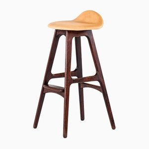 Scandinavian Modern Danish Leather and Rosewood Model OD-61 Bar Stool by Erik Buch for Oddense møbelfabrik, 1964