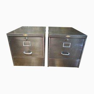 Vintage Industrial Steel Filing Cabinets, 1970s, Set of 2