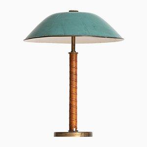 Lampe de Bureau Scandinave en Laiton et Cuir, 1940s