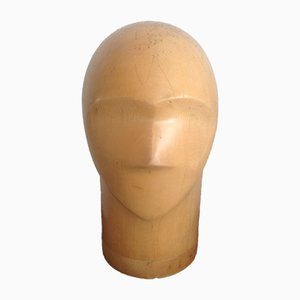 Antique Maple Wood Mannequin Head or Hat Stand, 1910s